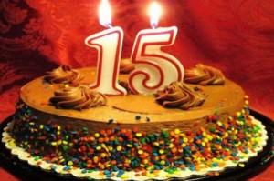 15 лет торт