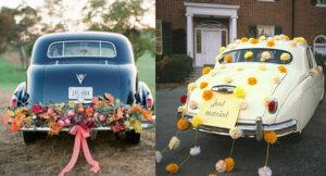 Украшение машины на осеннюю свадьбу